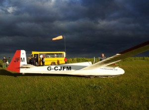 DGC glider G-CJJFM at Darlton Gliding Club airfield
